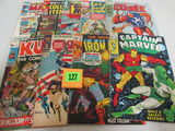 Lot (9) Mixed Marvel Silver Age Comics Captain Marvel, Iron Man+