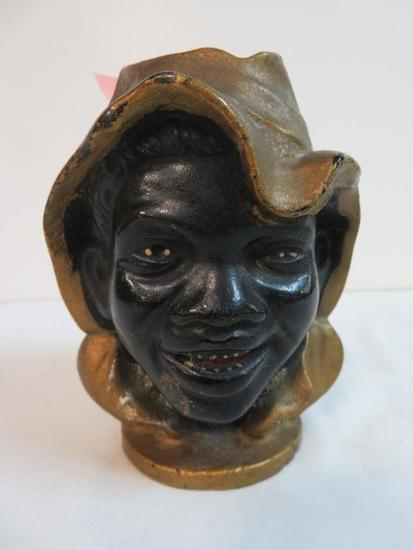 "Antique Black Americana ""2 Face"" Cast Iron Still Bank 4"" Tall"