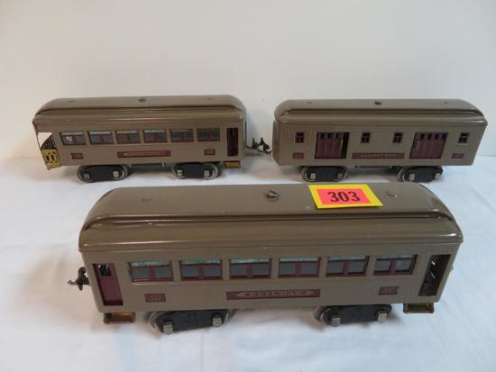 Lionel Pre-War Standard Gauge #332, 337, 338 Passenger Car Set