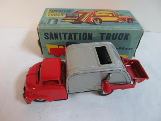 "Antique Japan 5.5"" Tin Friction Sanitation/ Garbage Truck MIB"