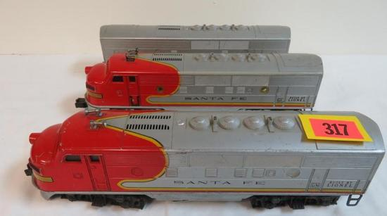 Lionel Post-War Santa Fe Diesel #2343, 2353 ABA Set