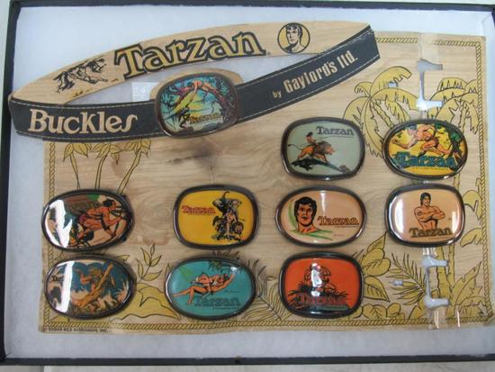 Outstanding 1975 Gaylord's Tarzan Belt Buckle Store Display w/ 10 Buckles