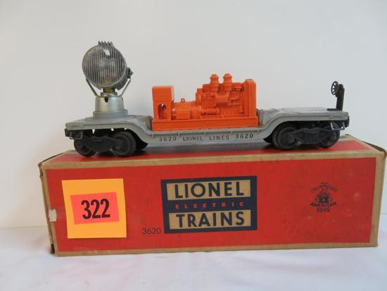 Lionel Postwar #3620 Rotating Searchlight Car in Orig. Box