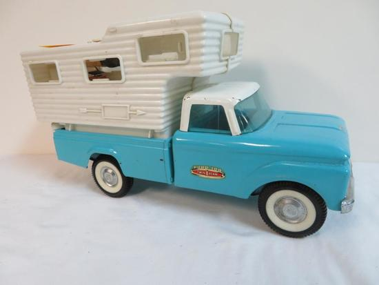 """Rare Vintage 1950's/60's Nylint 15"""" Ford Truck with Transistor Radio Camper"""
