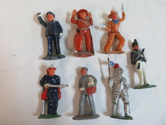 "Lot (7) Antique Barclay/ Manoil 3.5"" Cast Metal Figures"