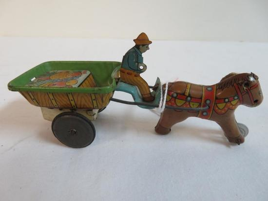 Early Alps (Japan) Tin Litho Friction Fruit Cart w/ Horse & Driver