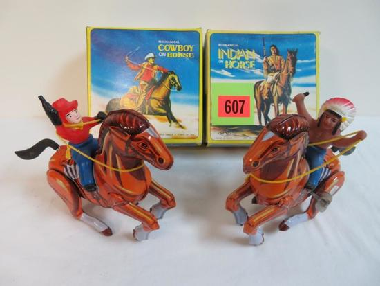 Vintage MTU (Korea) Tin Wind Up Cowboy & Indian. Both MIB