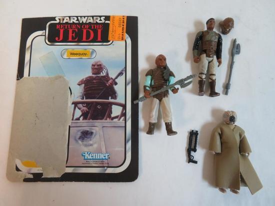 Lot (3) Vintage 1983 Star Wars ROTJ Figures Complete Lando, Weequay+