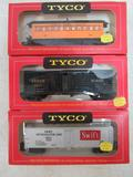 Lot (3) NOS Vintage Tyco HO Scale Rolling Stock Train Cars MIB