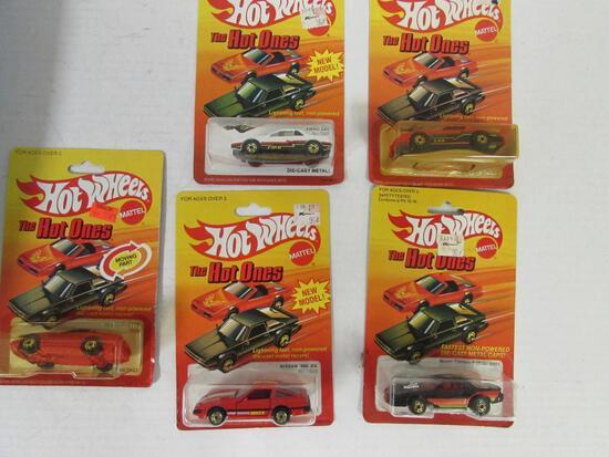 (5) Vintage 1983 Hot Wheels Hot Ones Diecast BW Black Walls MOC