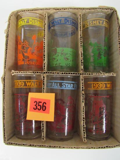 Full Set 1939 Walt Disney All-Stars Drinking Glasses in Orig. Box