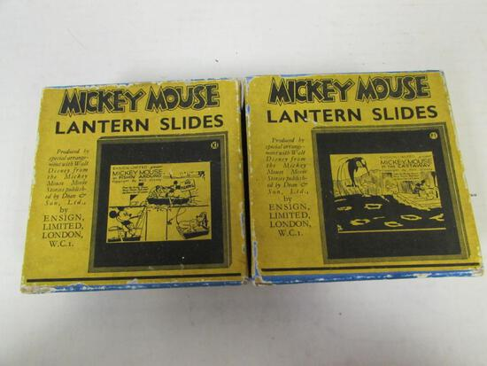 (2) Rare 1930's Mickey Mouse Glass Lantern Slides Sets in Orig. Boxes