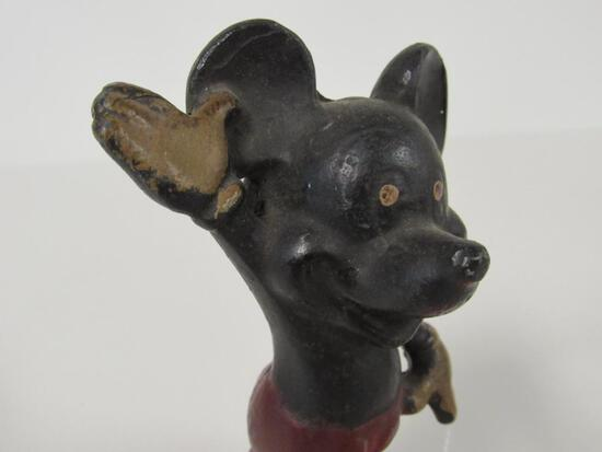 """Unknown ca. 1930's/40's Cast Iron 5"""" Mickey Mouse"""