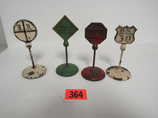 Lot (4) Antique Signed Arcade Cast Iron Road Signs