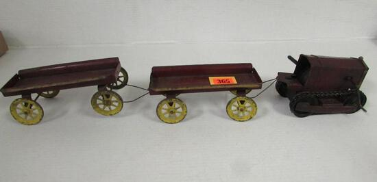 Antique Kingsbury (1920's) Clockwork, Mechanical Tractor with Trailers