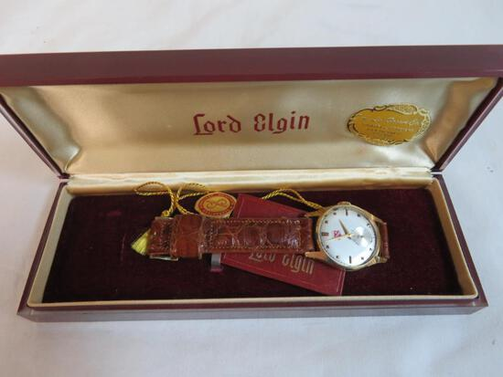 Lord Elgin 14K Gold Buick 25 Year Service Award Wrist Watch in Box