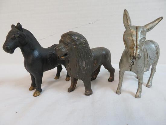 Lot of (3) Antique Cast Iron Still Banks, Inc. Lion, Horse and Mule