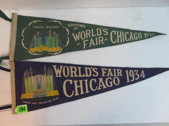 Lot of (2) 1933-1934 Chicago World's Fair Felt Pennants