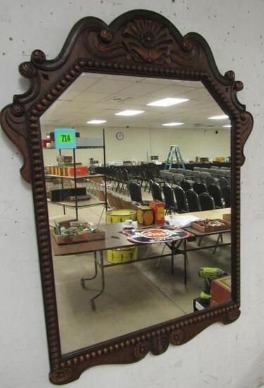 Ornate Antique Walnut Wall Mirror