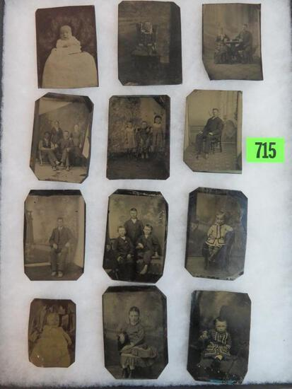 Case Lot of (12) Antique Tin Type Photos Includes Children & Adults