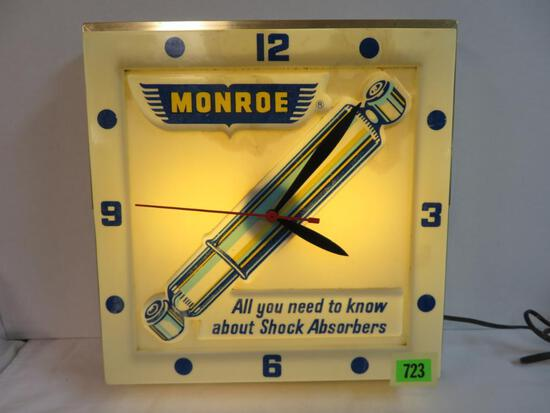 Vintage Monroe Shock Absorbers Lighted Advertising Clock