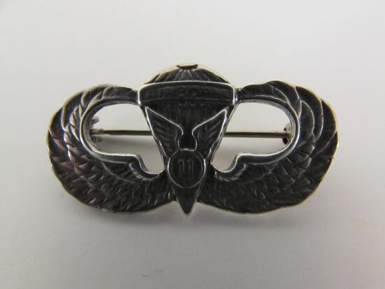 Sterling Silver 11th Airborne Paratrooper Wings