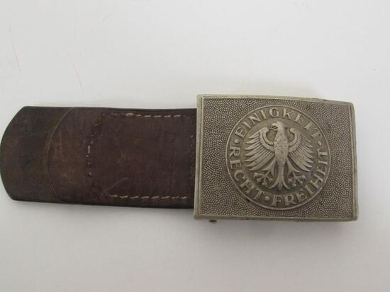 Post WWII German Army Belt Buckle with Leather Tab