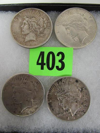 Lot (4) 1922 US Peace Silver Dollars