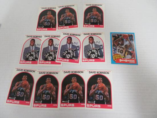 Lot (12) 1989-90 David Robinson RC's Hoops Fleer Rookie Sensations