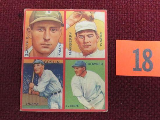 1935 Goudey 4 in 1 #5F Detroit Tigers Goslin, Crowder, Schuble, Marberry