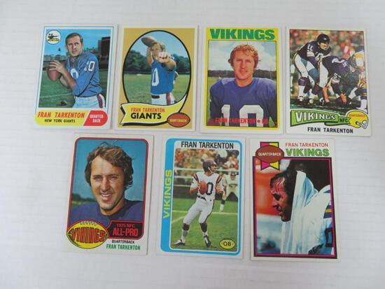 Lot (7) 1968 - 1979 Topps Fran Tarkenton Cards