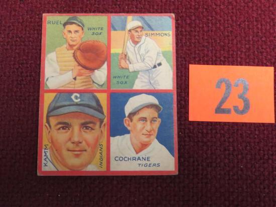 1935 Goudey 4 in 1 #6A Cochrane, Ruel, Simmons, Kamm