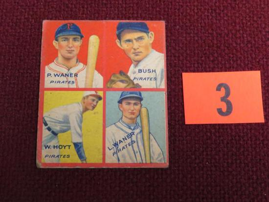 1935 Goudey 4 in 1 #1E HOF Waner, Waner, Hoyt, Bush