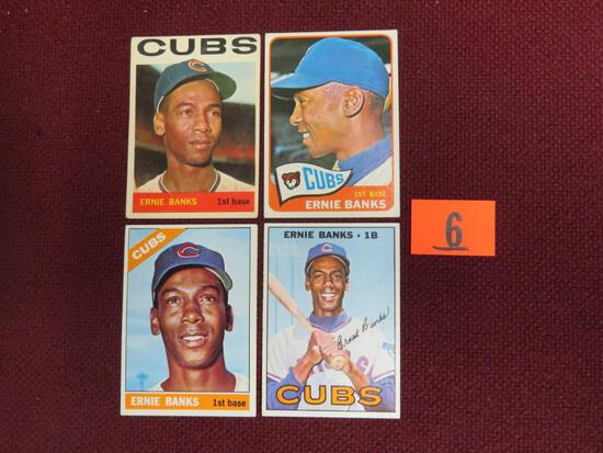 Lot (4) 1960's Topps Ernie Banks Cards 1964-1967