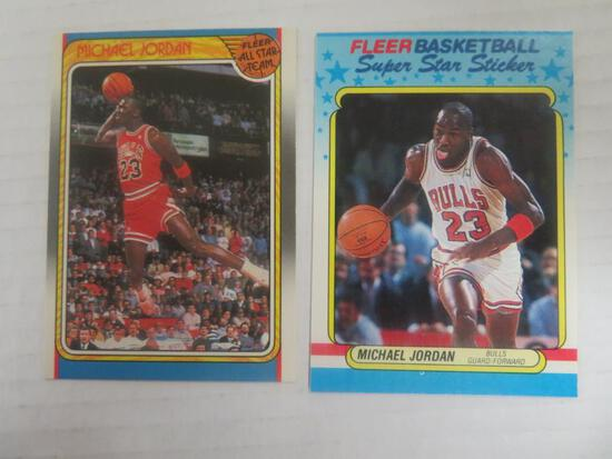 1988-89 Fleer Michael Jordan Sticker Card & All-Star Card