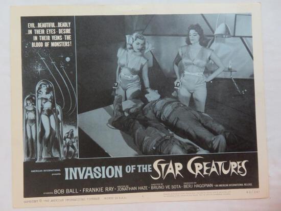 Original 1962 Invasion of the Star Creatures Movie Lobby Card