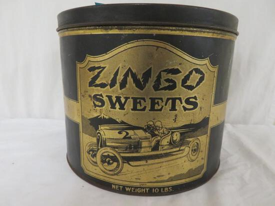 Excellent Antique Zingo Sweets Large Candy tin w/ Race Car Graphics