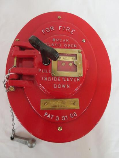 Antique ADT Cast Iron Fire Alarm w/ Striker (Pat. Date 1908)