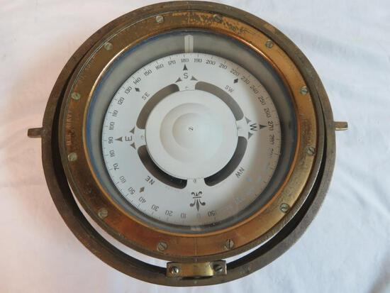 WWII U.S. Navy Mark I Brass Ship Compass