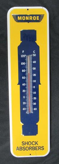 "Original Vintage Monroe Shocks 27"" Embossed Metal Advertising Thermometer"