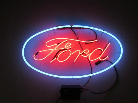 Excellent Ford Oval 2-Color Skeletal Neon Sign 16 x 30 with Transformer