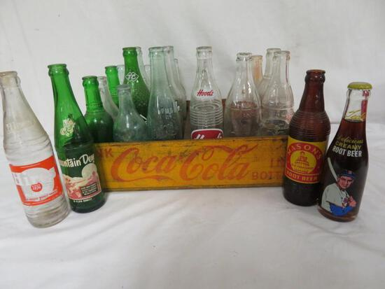Lot (24) Antique Glass Soda Pop Bottle in Wooden Crate