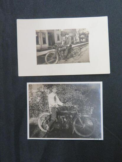 (2) Antique Original RPPC Real Photo Postcards Men on Motorcycles incl. Indian