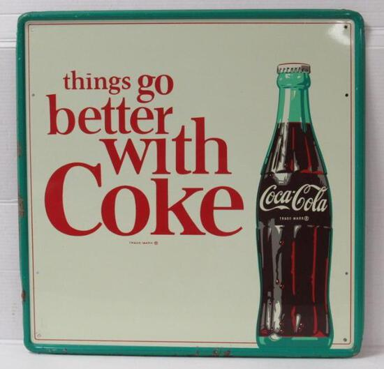 "Beautiful Vintage Coca Cola ""Things Go Better with Coke"" Embossed Metal Sign"