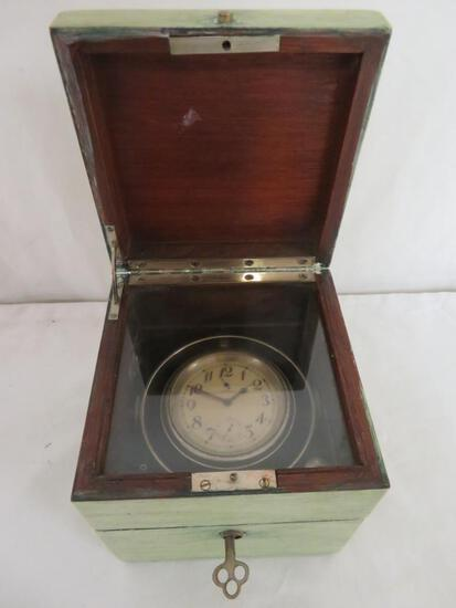 Antique Hamilton Ship's Chronometer in Case with Both Keys