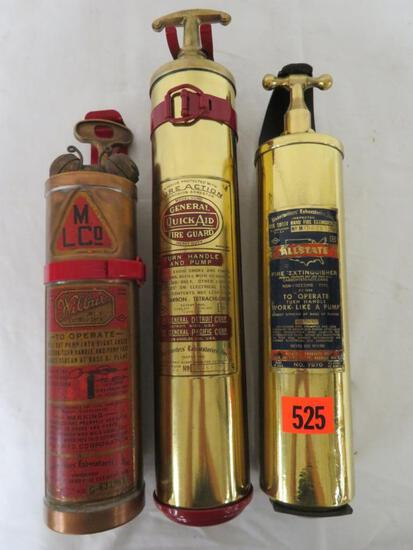 (3) Antique Brass Fire Extinguishers with Mounting Brackets