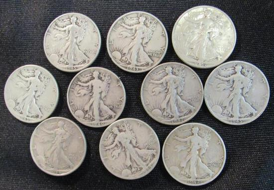 Lot (10) 1940's Walking Liberty Half Dollars/ 90% Silver