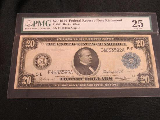 1914 $20 Federal Reserve Note Large Richmond FRN PMG-25 Very Fine