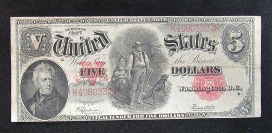 1907 $5 Wood Chopper Large Note
