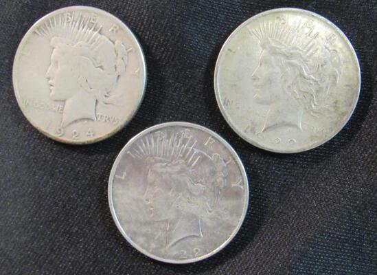 1922, 1922, 1924 Peace Silver Dollars